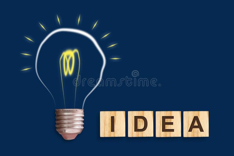 Idea del concepto Bombilla en un fondo azul El concepto de ideas brillantes para el negocio, hizo con frecuencia preguntas, creat ilustración del vector