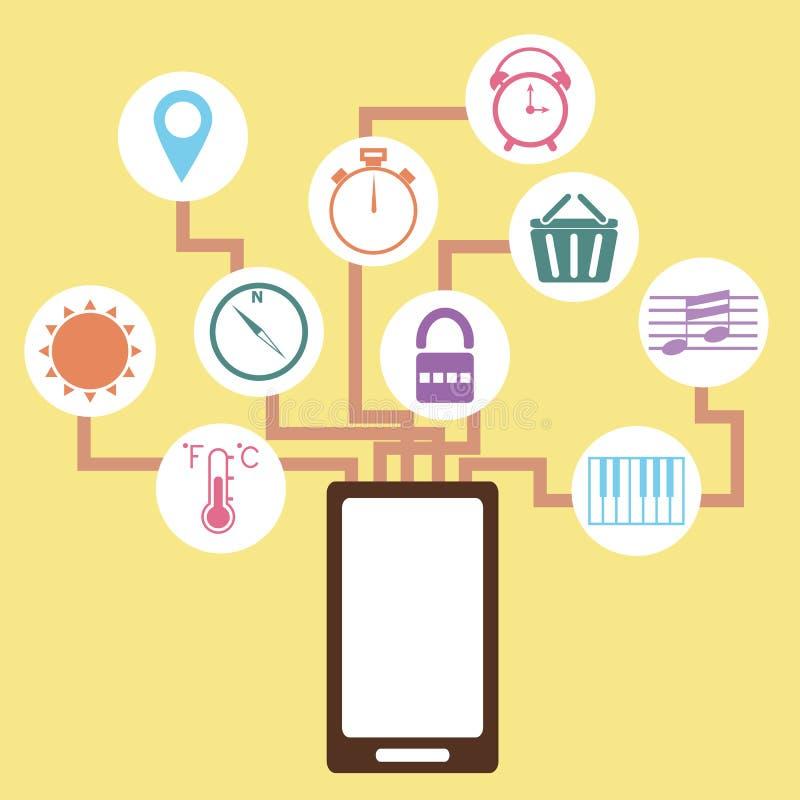 Idea del concepto de la aplicación móvil en estilo plano libre illustration