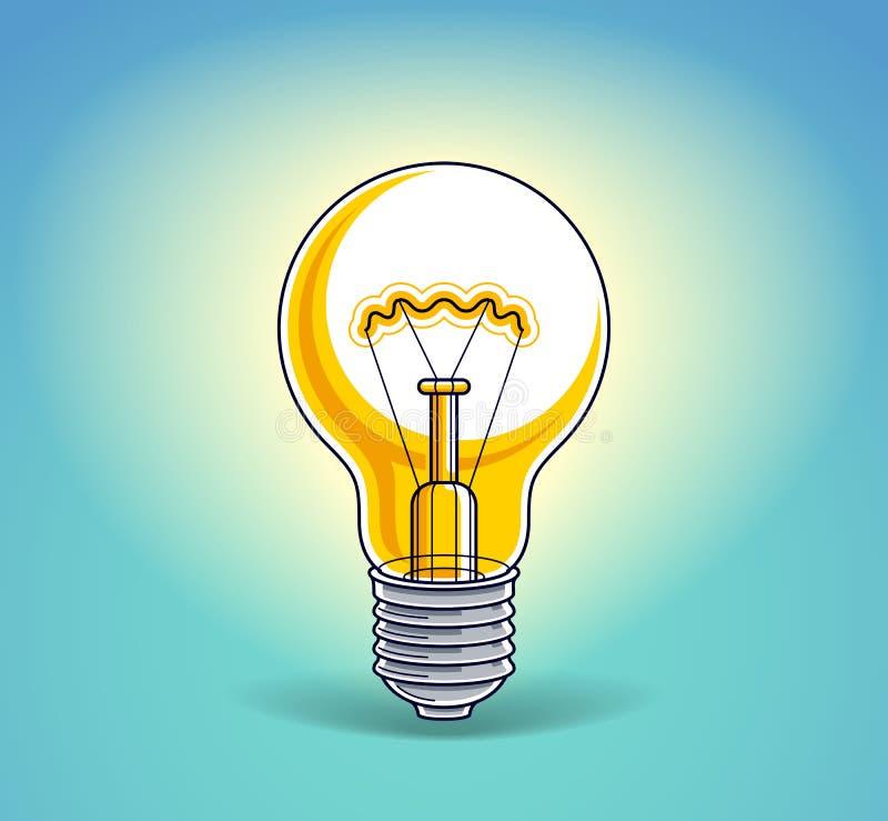 Idea del concepto de la bombilla, vector hermoso stock de ilustración
