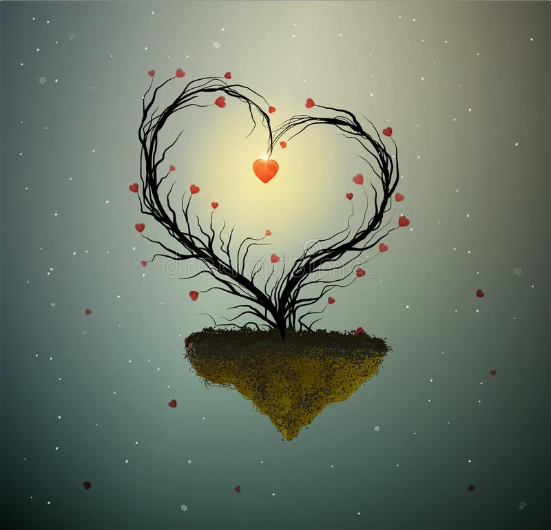 Idea del domicilio familiar, árbol mágico del amor de la primavera, árbol con el corazón con la jerarquía y dos pájaros blancos d stock de ilustración