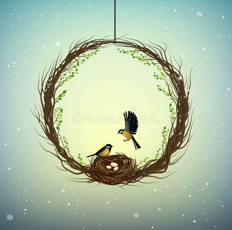 Idea del domicilio familiar, guirnalda de thebranches con la jerarquía y dos pájaros dentro, hogar dulce, primavera dentro de la  stock de ilustración