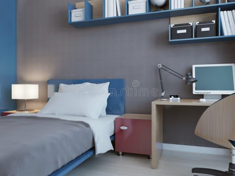 Idea del dormitorio de los niños con las paredes grises stock de ilustración
