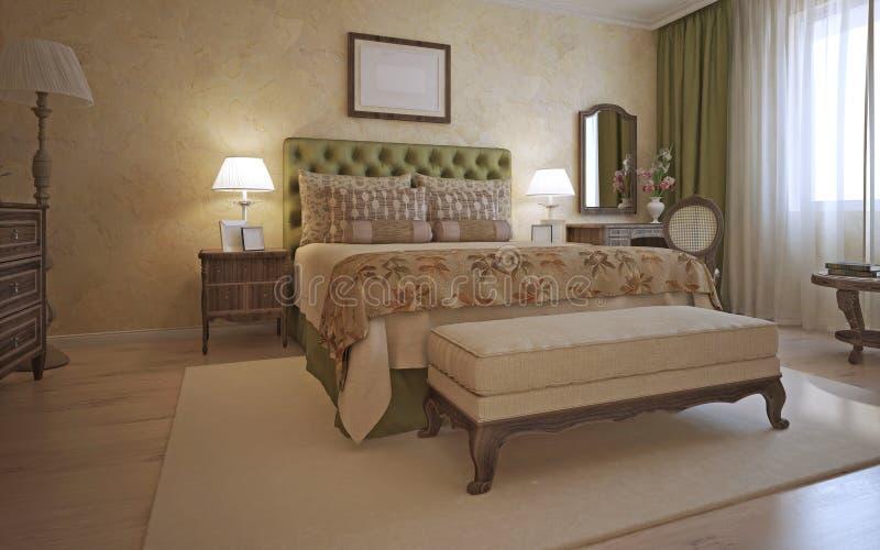 Idea del dormitorio del hotel en estilo mediterráneo ilustración del vector