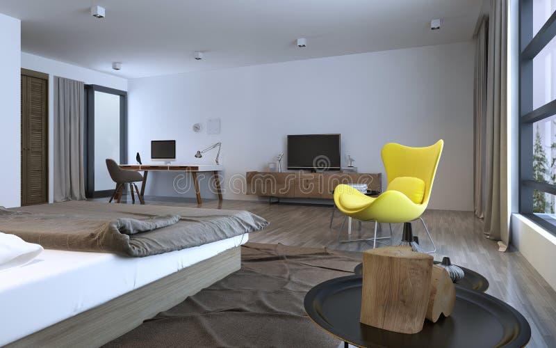 Idea del dormitorio: interior minimalista ilustración del vector