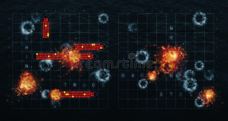 idea del ejemplo 3D para China contra Estados Unidos en la guerra comercial ilustración del vector