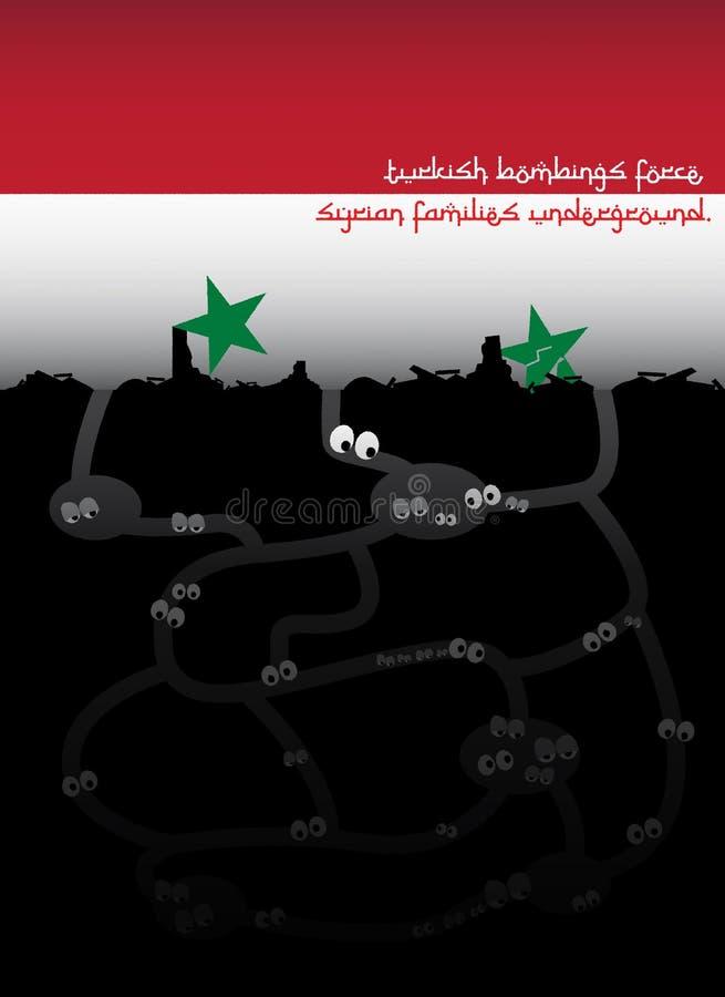Idea del ejemplo para las bombas turcas que fuerzan a las familias sirias subterráneo stock de ilustración
