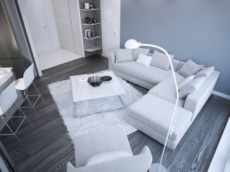 Idea del estudio minimalista de la sala de estar libre illustration