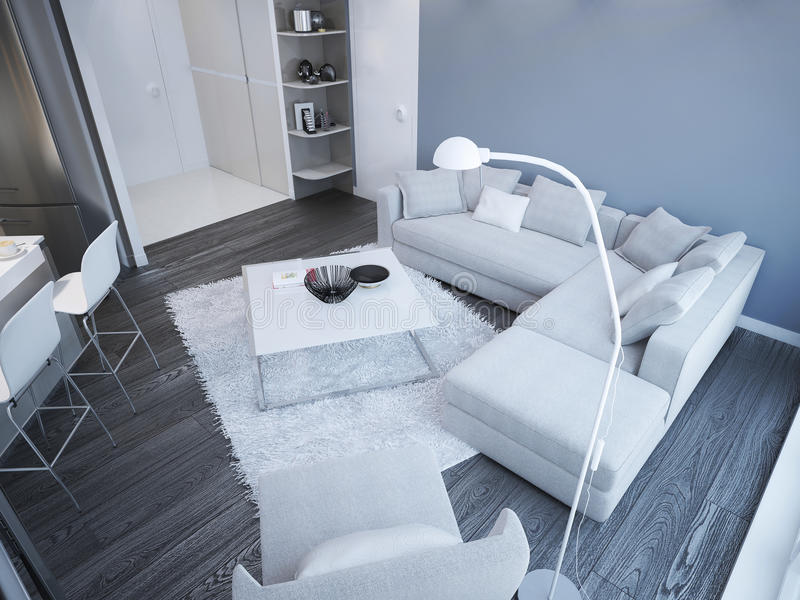 Idea del estudio minimalista de la sala de estar stock de ilustración