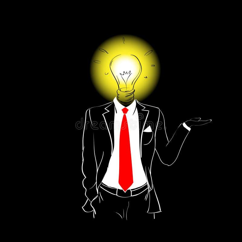 Idea del lazo del traje de la silueta del hombre nueva de la cabeza roja de la bombilla stock de ilustración