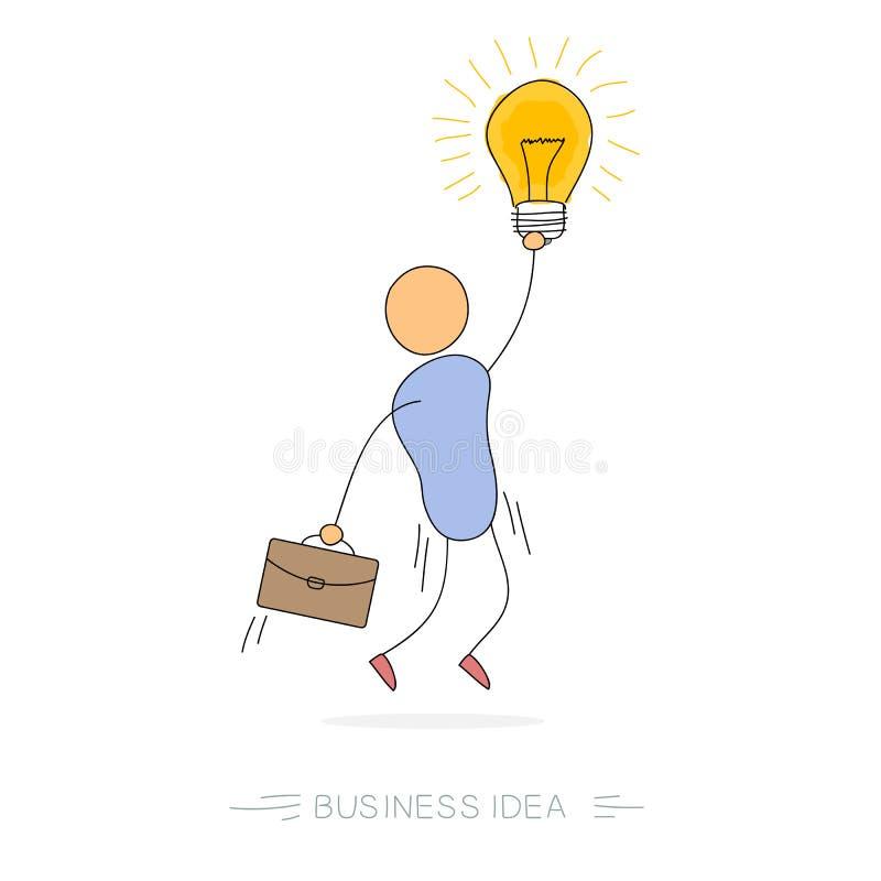 Idea del negocio - hombre con la lámpara del bulbo stock de ilustración