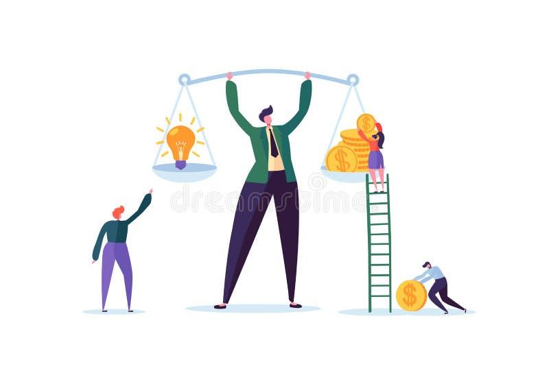 Idea di affari e concetto dei soldi Uomo d'affari Holding Weights con la lampadina e le monete dorate Gestione di investimento illustrazione di stock