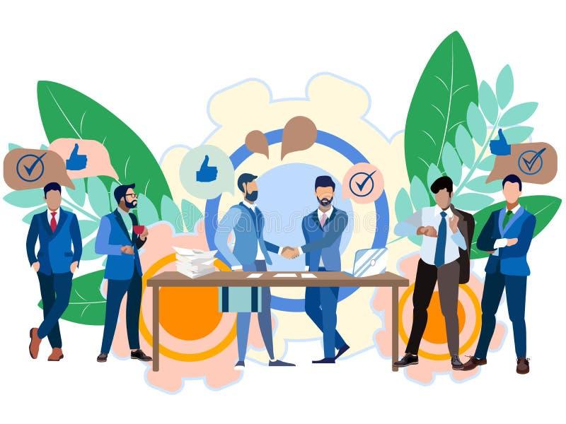 Idea di affari, negoziato Contratto che firma, cooperazione Nello stile minimalista Quadro televisivo isometrico piano illustrazione di stock