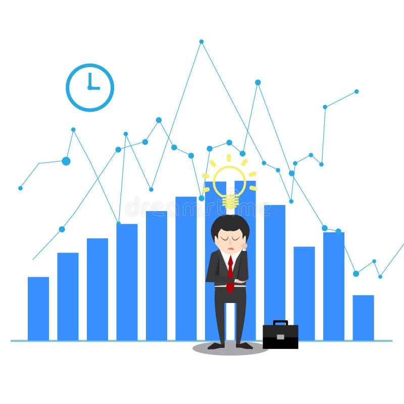 Idea di pensiero dell'uomo d'affari nella disperazione nel concetto di crisi illustrazione di stock