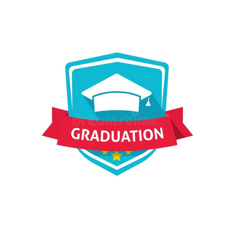 Idea di simbolo della cresta dell'illustrazione, della scuola o dell'università di vettore dell'emblema di graduazione royalty illustrazione gratis