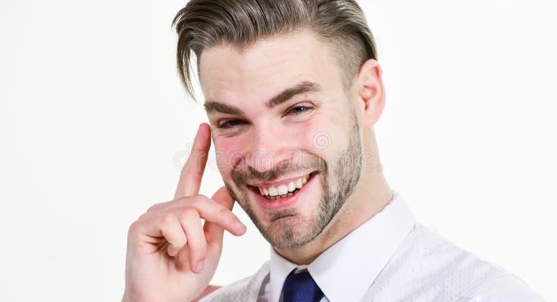 Idea divertente Il sorriso barbuto dell'uomo con il dito si è alzato isolato su bianco Sorridere o risata macho felice Concetto d fotografia stock libera da diritti