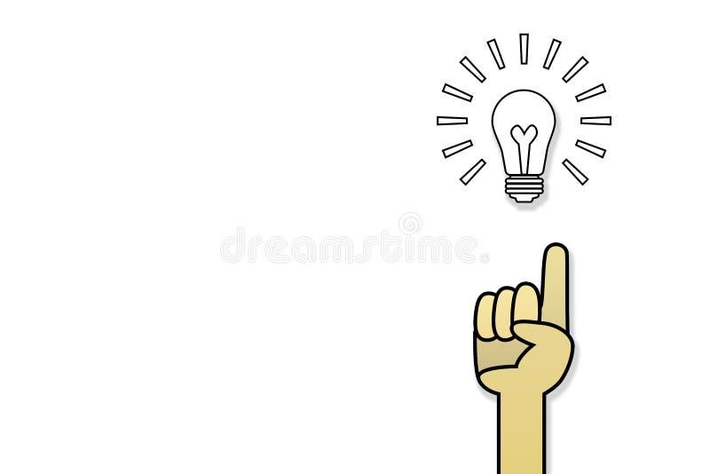 Idea e mano della lampadina con le dita che indicano su illustrazione vettoriale