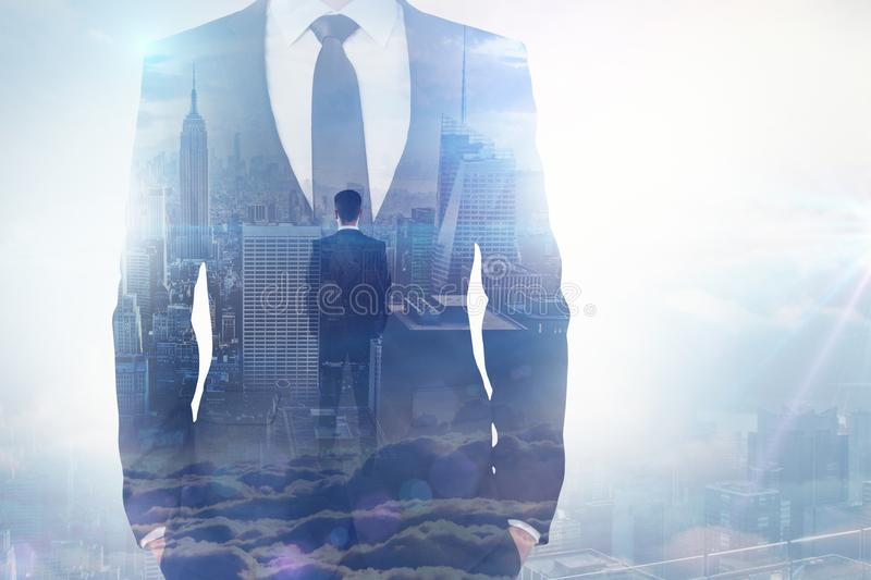 Idea and employment concept. Businessman on abstract sky city background. Idea and employment concept. Double exposure royalty free illustration