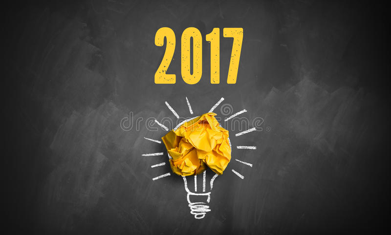 Idea found for 2017. Symbolized on a blackboard royalty free stock photos
