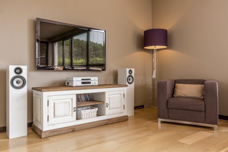 Idea funcional de la sala de estar de la TV imágenes de archivo libres de regalías