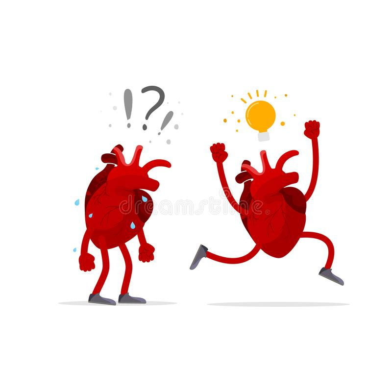 Idea generation concept Talent. Human heart organ with question sign and with idea bulb stock illustration