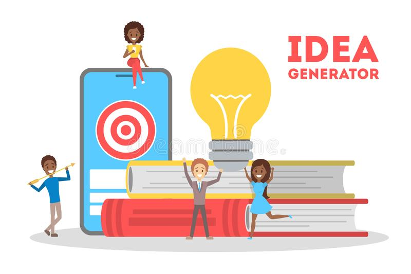Idea generator concept. Creative thinking process, development royalty free illustration