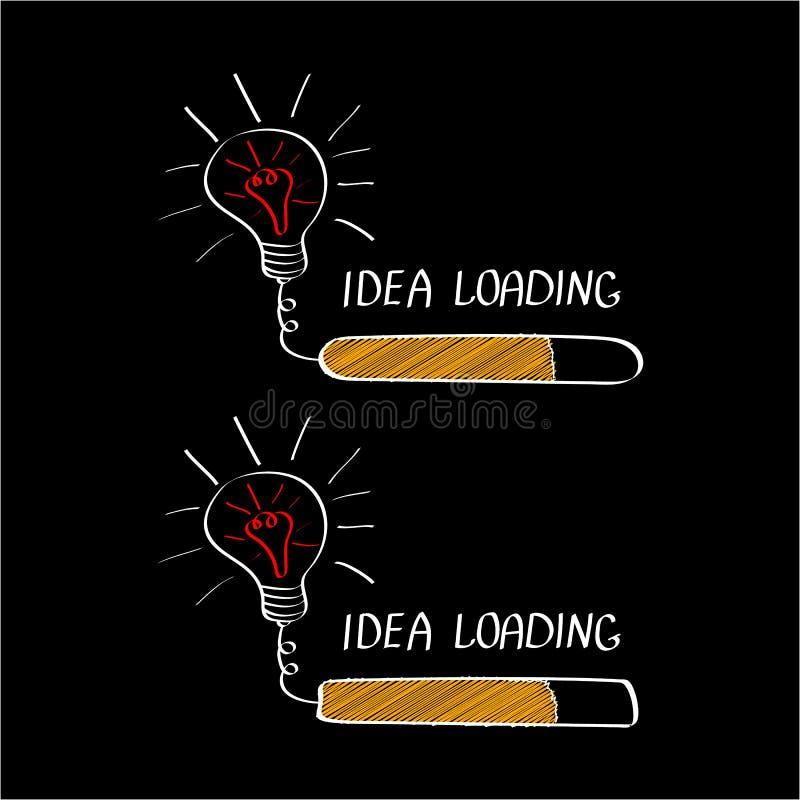 Idea grande con la barra de cargamento aislada en fondo negro Inspirándose o concepto de la bandera del pensamiento creativo stock de ilustración