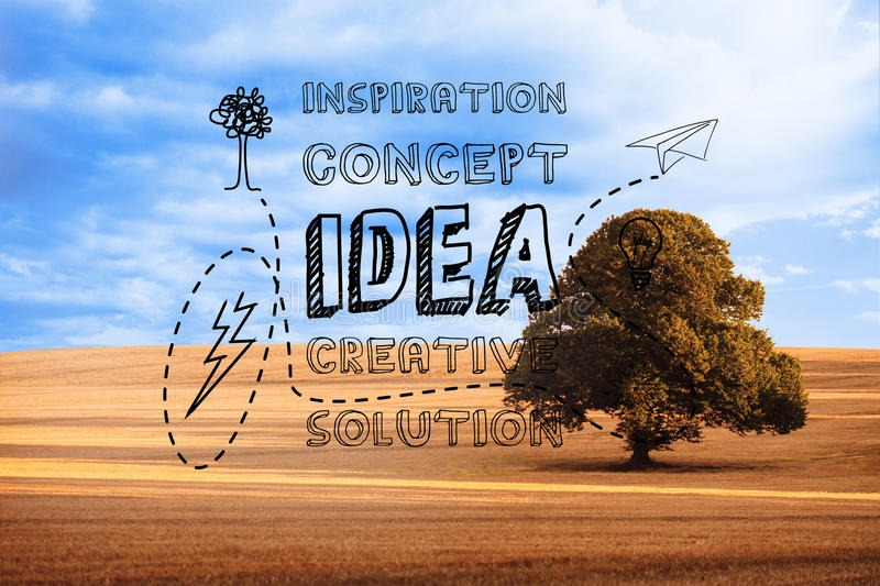 Idea graphic over countryside vector illustration
