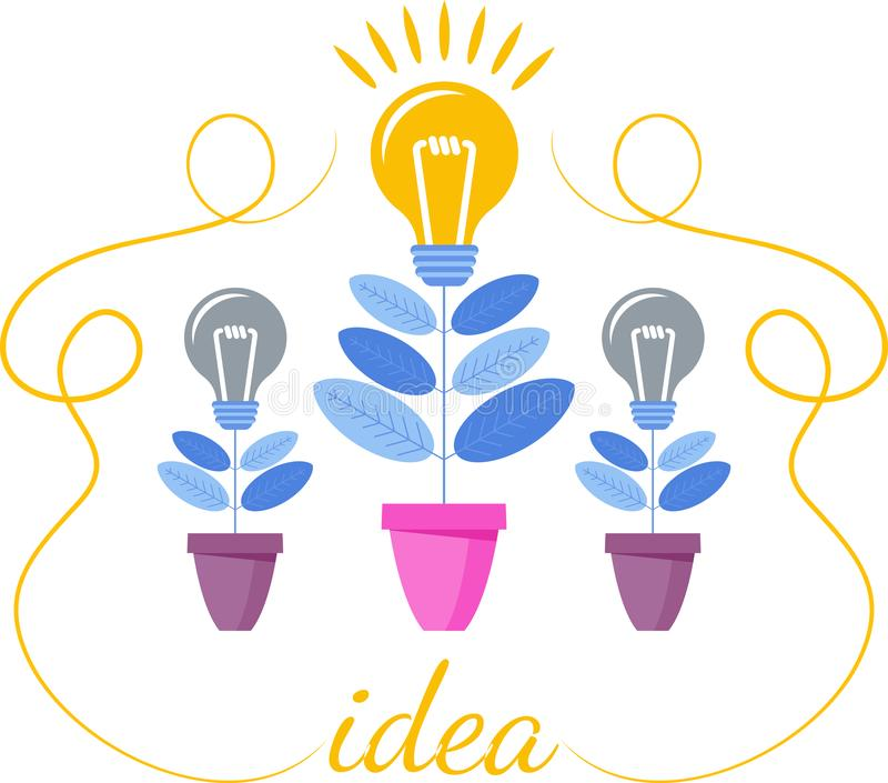 Idea growth concept. Idea grows like a flower in a flower pot. Development of creativity. Innovation for business and creativity. Trendy flat vector style vector illustration