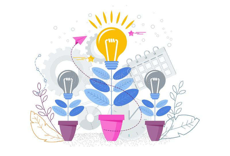 Idea growth concept. Idea grows like a flower in a flower pot. Development of creativity. Innovation for business and creativity. Trendy flat vector style royalty free illustration