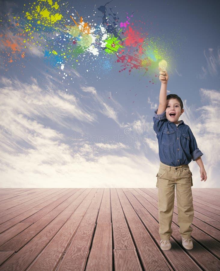 Idea of a happy child. Happy child with a new idea