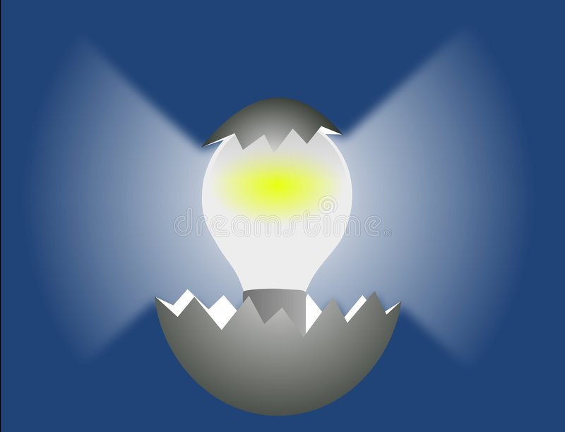 Idea hatching. Light bulb hatching out of an egg illustrating the birth of a bright idea vector illustration