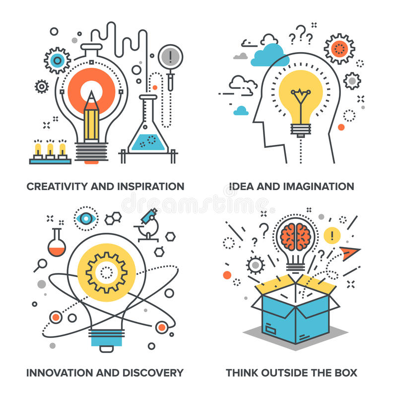 Idea and Imagination. Vector set of conceptual flat line illustrations on following themes - creativity and inspiration, idea and imagination, innovation and