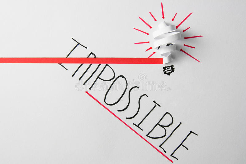 Idea impossible transformed into possible. Word impossible transformed into possible. Motivation philosophy concept royalty free stock image