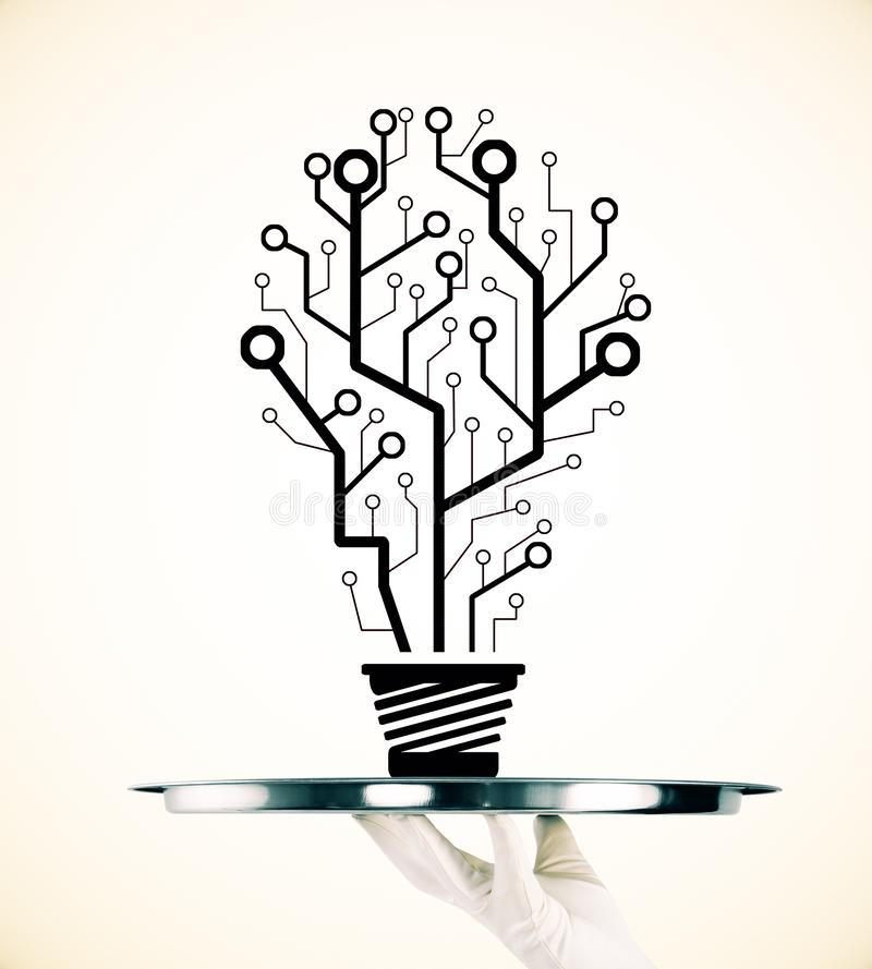 Idea, innovation and inspire concept. Abstract hand drawn circuit light bulb tree sketch on subtle background. Idea, innovation and inspire concept stock image