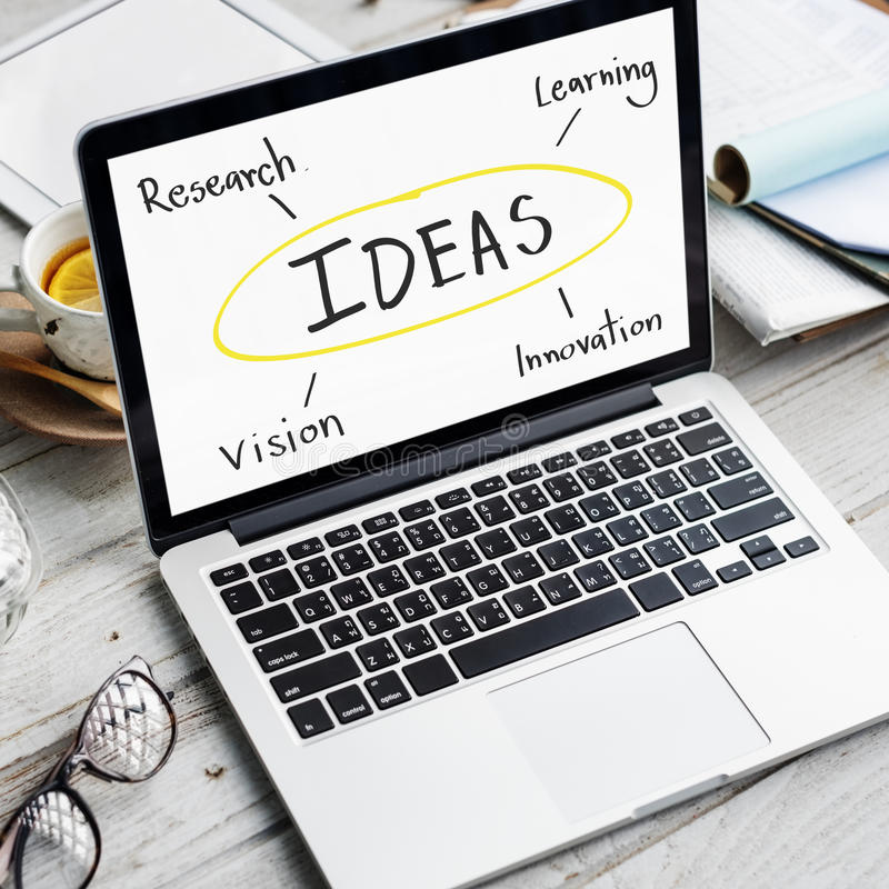 Idea Innovation Research Vision Learning Concept. Computer Notebook Idea Innovation Research Vision Learning royalty free stock photography
