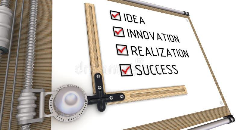Idea, innovazione, realizzazione, successo Lista con i segni di spunta sul tavolo da disegno illustrazione di stock