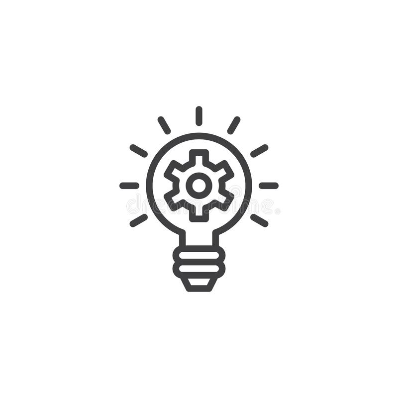 Idea lamp with gear outline icon. Linear style sign for mobile concept and web design. Setting gear light bulb simple line vector icon. Symbol, logo royalty free illustration