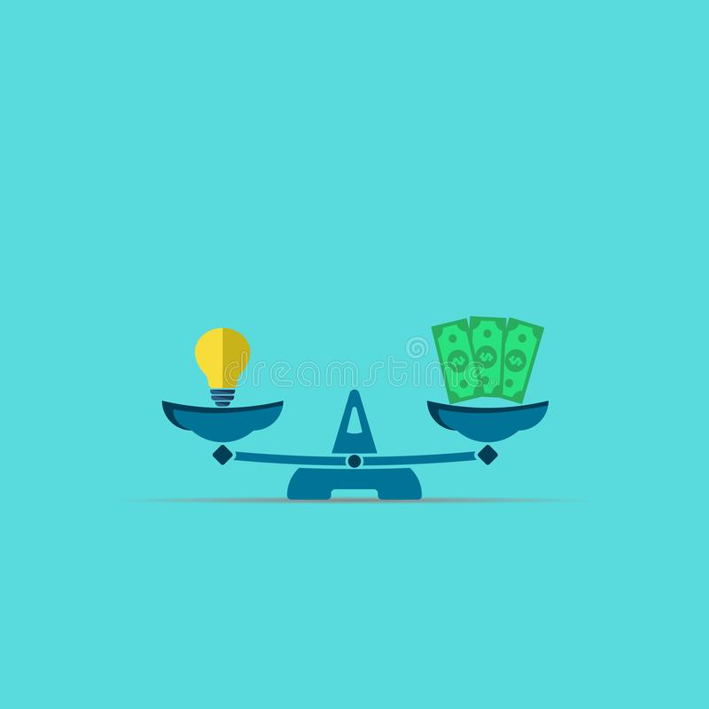 Idea lamp and money dollars on scales. vector modern symbol. EPS10, balance, bulb, finance, business, concept, creativity, currency, illustration, innovation vector illustration