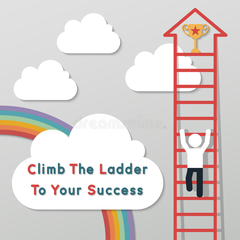 Idea leadership business concept. Businessman climbing the ladder to get a trophy. idea leadership business plan concept in modern flat style royalty free illustration
