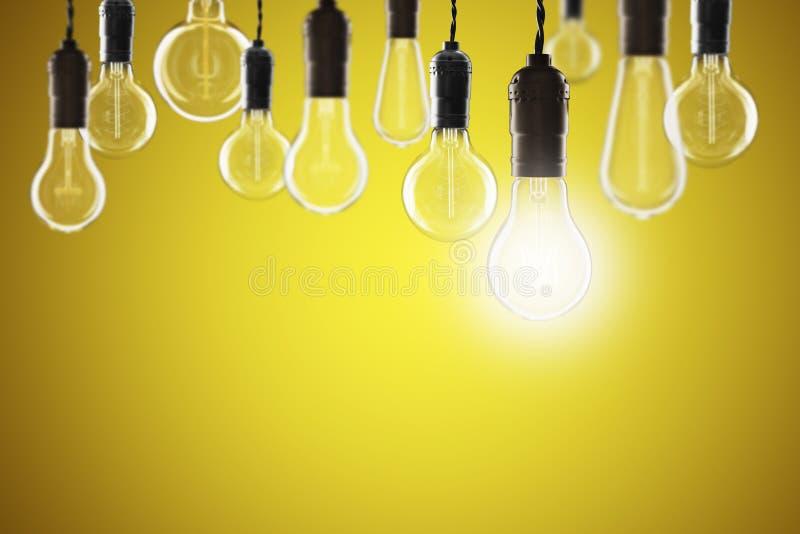 Idea and leadership concept - bulbs on the grunge background. Idea and leadership concept - Vintage bulbs on the color background bright conceptual creative stock photos