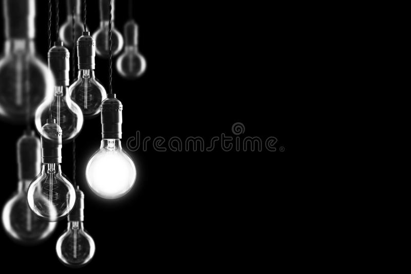 Idea And Leadership Concept Vintage Bulbs On Black Background Stock Image Image Of Design Science 63848477