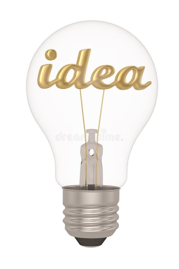 Idea letter and light bulb on white background.3D illustration royalty free illustration