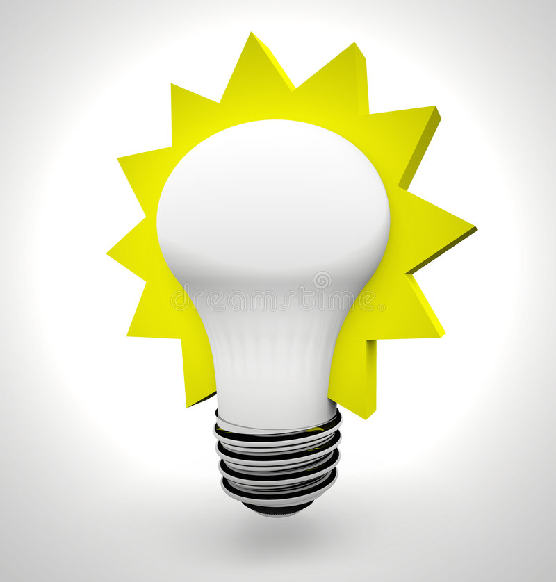 Idea Light Bulb. A bright light bulb with a yellow starburst around it, symbolizing an idea stock illustration