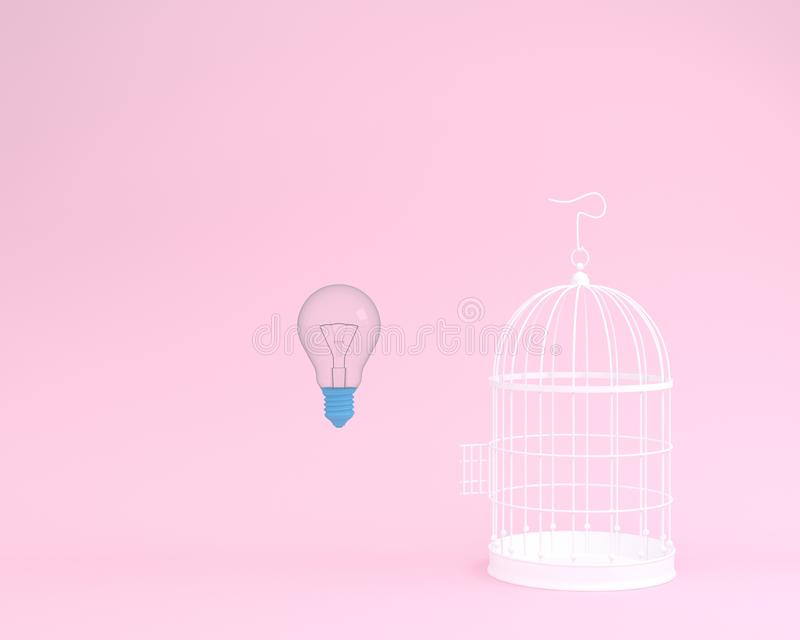Idea light bulb flying outside a white cage on pink background. Minimal freedom concept stock illustration