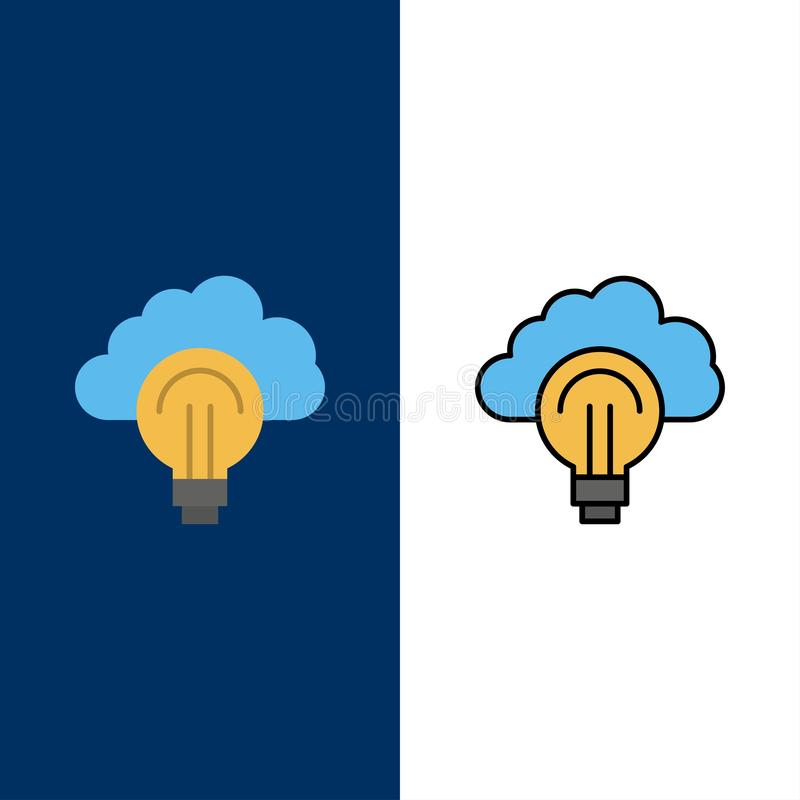 Idea, Light, Bulb, Focus, Success  Icons. Flat and Line Filled Icon Set Vector Blue Background stock illustration