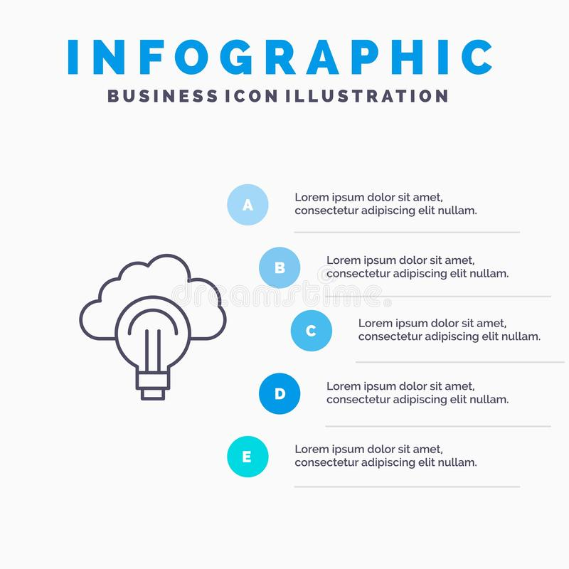 Idea, Light, Bulb, Focus, Success Line icon with 5 steps presentation infographics Background royalty free illustration