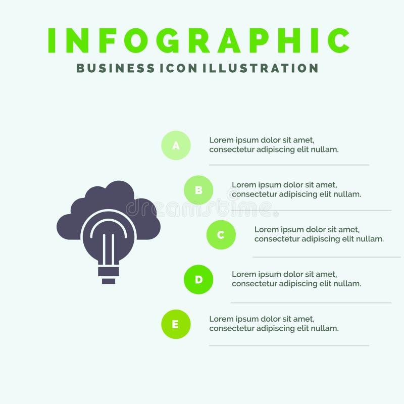 Idea, Light, Bulb, Focus, Success Solid Icon Infographics 5 Steps Presentation Background vector illustration