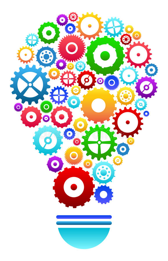 Idea Light Bulb With Gears And Cog Wheels. Concept Isolated stock illustration
