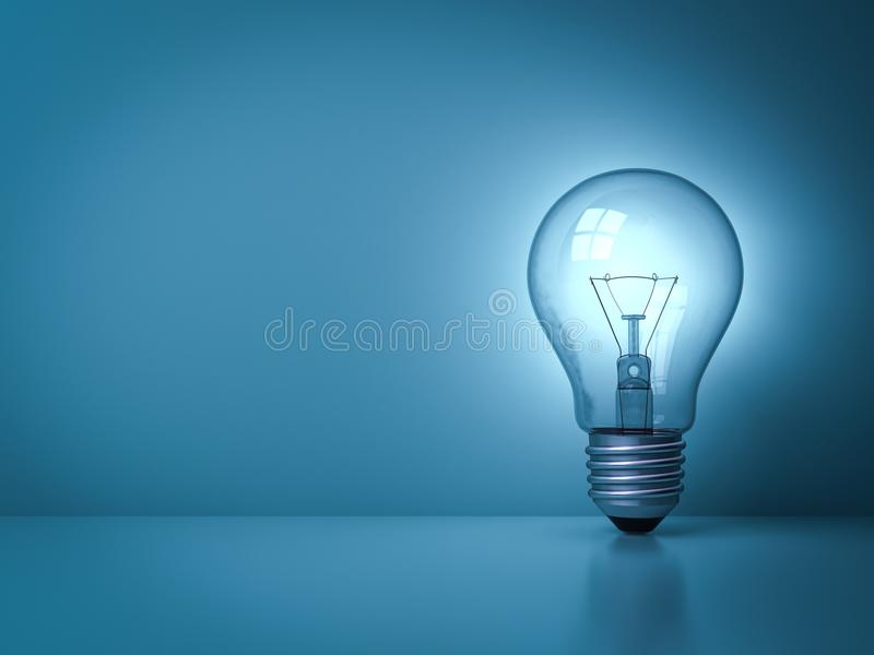 Idea light bulb glowing on the dark blue background with reflection vector illustration