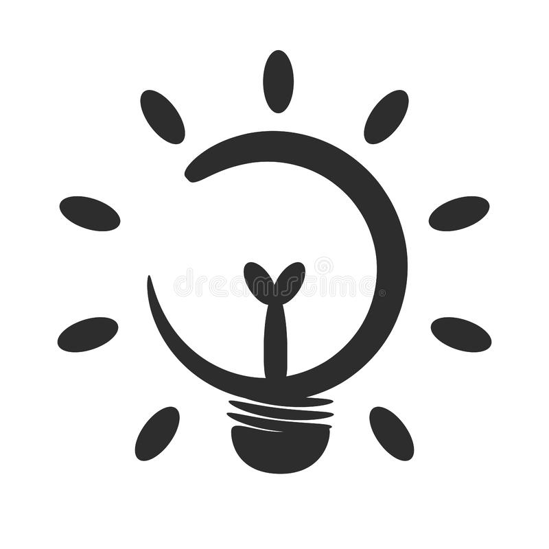 Idea light bulb icon. The tree bulb in the middle shows the idea of energy saving royalty free illustration